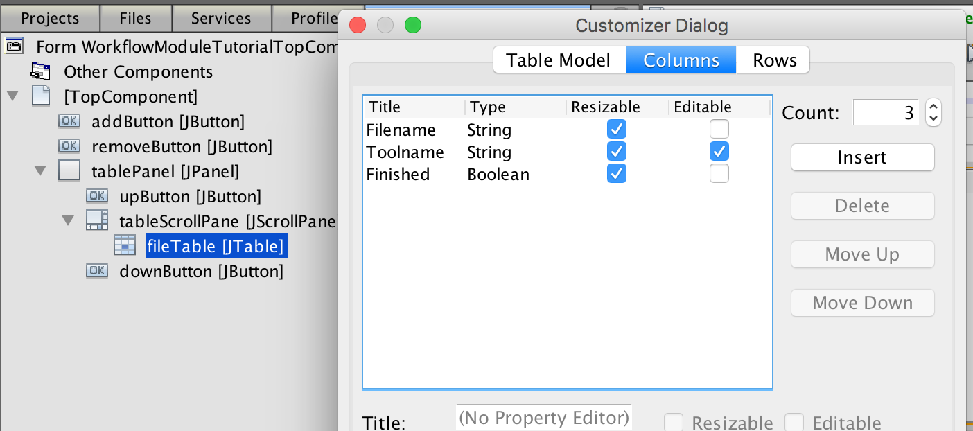 plugin ugs you can also specify which columns are editable in this example we want the user to be able to type in what type of tool should be used